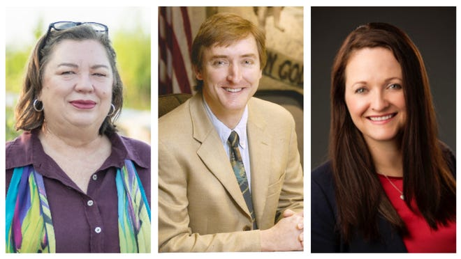 From left, Mary Alford, Mike Byerly and Raemi Eagle-Glenn are running for Alachua County District 1 in the county's Aug. 18 primary election.