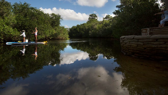 Madeline Walden and her aunt, Dusty McCollum paddleboard the Estero River on Tuesday, Nov. 17