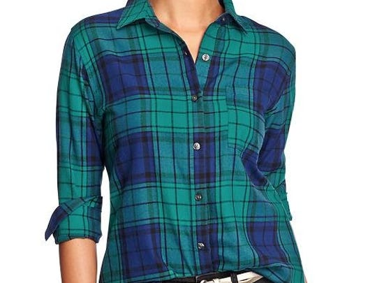 Women's plaid flannel boyfriend shirt, $26.94 at Old Navy. To shop online or check local availability, www.oldnavy.com.