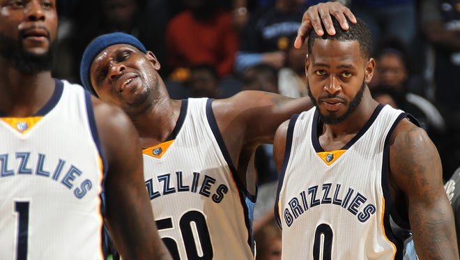 April 9, 2016 -  Memphis Grizzlies Lance Stephenson, Zach Randolph and JaMychal Green react during the game against the Golden State Warriors at FedExForum.  (Nikki Boertman/The Commercial Appeal)