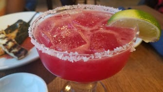 The Margarita Estacional from Festiva features blood orange, habanero, hibiscus and citrus.