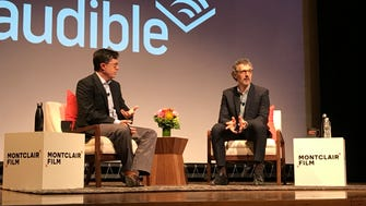 TV show host and Montclair resident Stephen Colbert, left, interviews actor and director John Turturro at the Montclair Kimberley Academy during the Montclair Film Festival on April 30.