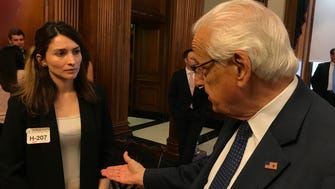 Ceren Borazan of East Rutherford tells Rep. Bill Pascrell Jr. on Wednesday about being choked, thrown to the ground and kicked by Turkish security while protesting in Washington during a May 16 visit by Turkish President Recep Tayyip Erdogan.