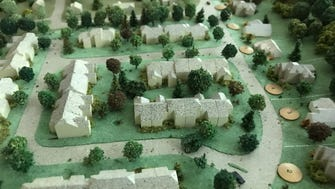 An old model of the vision for Lakeside Manor in Wanaque, N.J.