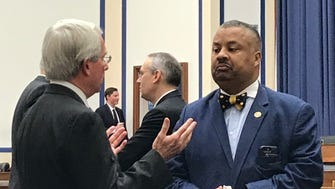 "Rep. Donald Payne, D-Newark, stressed the importance of replacing the Portal Bridge over the Hackensack River during a June 22, 2017 House subcommittee hearing where Amtrak CEO Charles ""Wick"" Moorman IV, left, said the budget proposed by President Donald Trump would elilminate funding for capital projects on the Northeast Corridor."