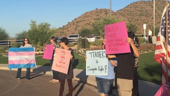 Approximately two dozen protesters advocated for transgender students rights outside Great Hearts Academies' fundraising gala on Sept. 23, 2017.
