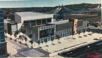 Live Nation's rendering of its proposed concert venue at The Banks