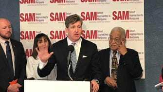 Former Rep. Patrick Kennedy speaks out against legalizing marijuana during a news conference on April 20, 2018, at the National Press Club
