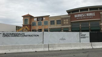 Construction crews at work Tuesday on the new entrance wing at The Shops at Riverside in Hackensack