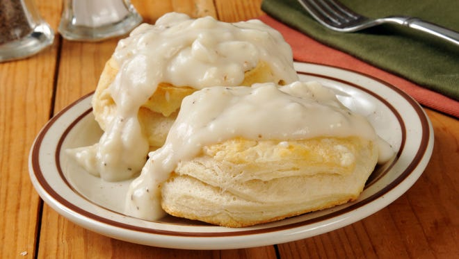 Freshly baked biscuits with country gravy.