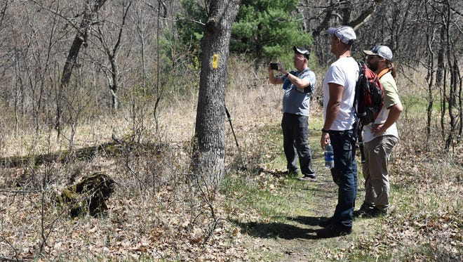 David Taylor, left, of Team River Runners in Green Bay, takes a photo while hiking the Ice Age Trail near Coloma with Andrew Werthmann of Eau Claire, a consultant to The Pew Charitable Trusts; and Kevin Thusius of Cross Plains, director of land conservation for the Ice Age Trail Alliance.