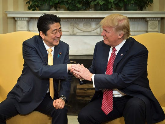 Japanese Prime Minister Shinzo Abe and President Trump