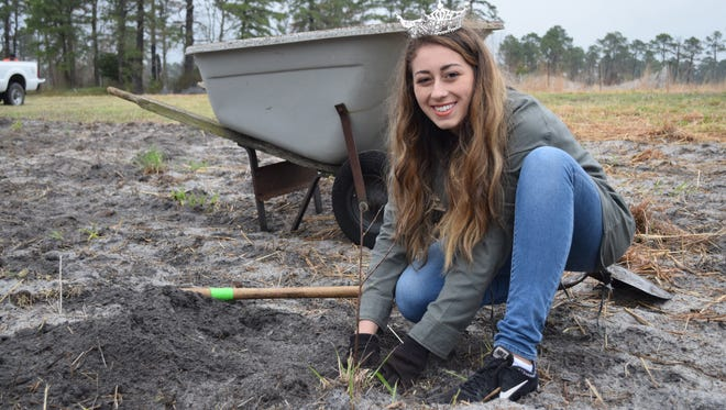 Miss Cumberland County Sarah Pepitone also volunteered to help create a quality quail habitat at the Landis Sewerage Authority site on Saturday, April 22.