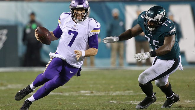 Case Keenum, shown last year running against the Philadelphia Eagles, is one reason why the Denver Broncos should improve on last year's 5-11 record.