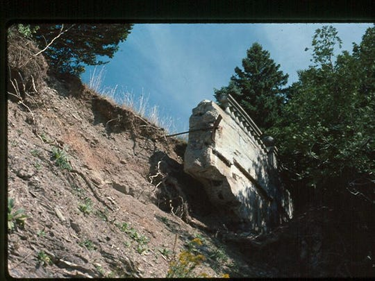 With shoreline erosion, much of the semicircular balustrade was lost in Lake Champlain.