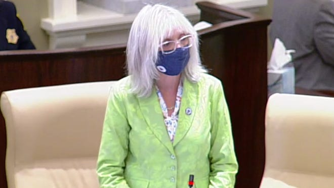 In this image from a video, state Sen. Susan Moran, D-Falmouth, gives her inaugural speech on the Senate floor Thursday. Moran argued successfully to include money in the transportation bond bill to revamp roads leading to the Bourne and Sagamore bridges.