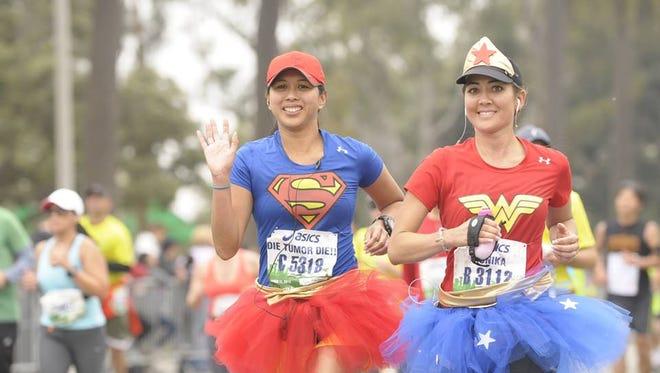 Monika Allen was wearing a tutu when she ran last year's LA Marathon – she was dressed as Wonder Woman - for her first marathon running with brain cancer.