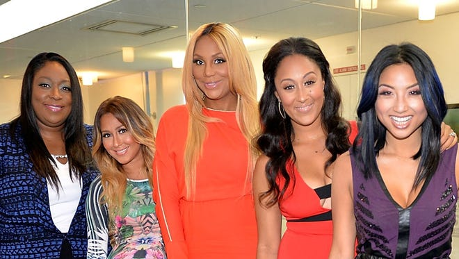 """""""The Real,"""" a daytime talk show starring (from left) Loni Love, Adrienne Bailon,Tamar Braxton, Tamera Mowry-Housley and Jeannie Mai, will make a Jan. 1 debut on WISH-8."""