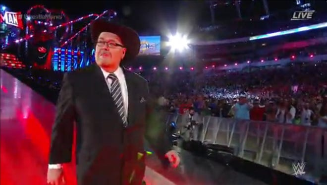 Beloved broadcaster Jim Ross called the main event of WrestleMania on Sunday night.