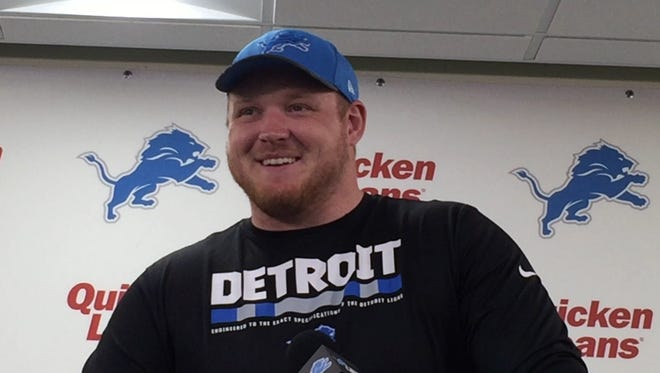 Detroit Lions offensive lineman T.J. Lang speaks with the media in Allen Park on Tuesday, April 25, 2017.