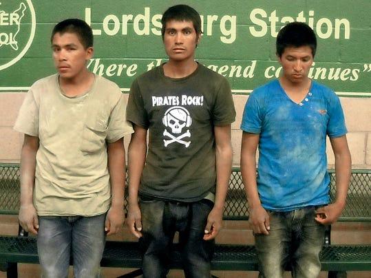 Courtesy Photo   Mexsican Nationals Tomas Silva-Flaco, 24, Vidal Gonzalez-Armendariz, 18, and Oracio Ramos-Palmas, 24, of Mexico were caught smuggling marijuana near Lordsburg. The narcotics seized had a street value of 116,240.