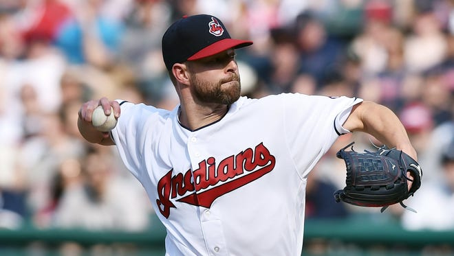 Cleveland Indians starting pitcher Corey Kluber throws a pitch during the second inning against the Detroit Tigers at Progressive Field in a game on April 15. Kluber threw a complete game shutout on Friday as the Indians beat the White Sox.