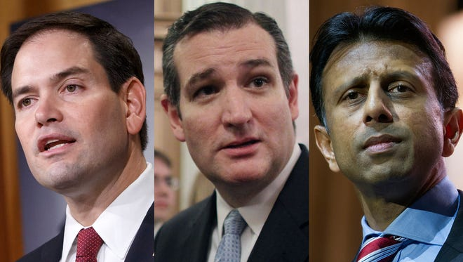 Sen. Marco Rubio, R-Fla., Sen. Ted Cruz, R-Texas, and Louisiana Gov. Bobby Jindal