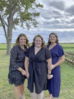 Elizabeth Stine (left), with sisters Rachel Stine (middle) and Catherine Stine, is walking this year to raise money for Pelotonia. Cancellation of the traditional bicycle ride fundraising has led to Pelotonia supporters finding new ways to raise money.