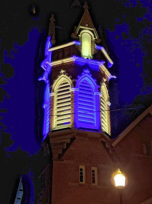 The bell tower at the Gahanna Sanctuary, 82 N. High St., can be lit with various colors to celebrate special events.