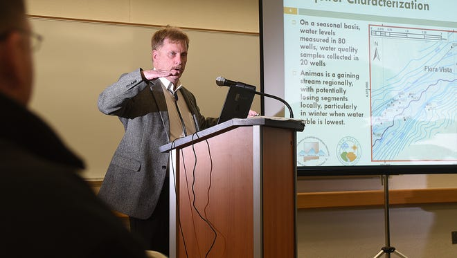 Dennis McQuillan, chief scientist for the New Mexico Environment Department, speaks on Monday during a Gold King Mine Citizens' Advisory Committee meeting at San Juan College in Farmington.