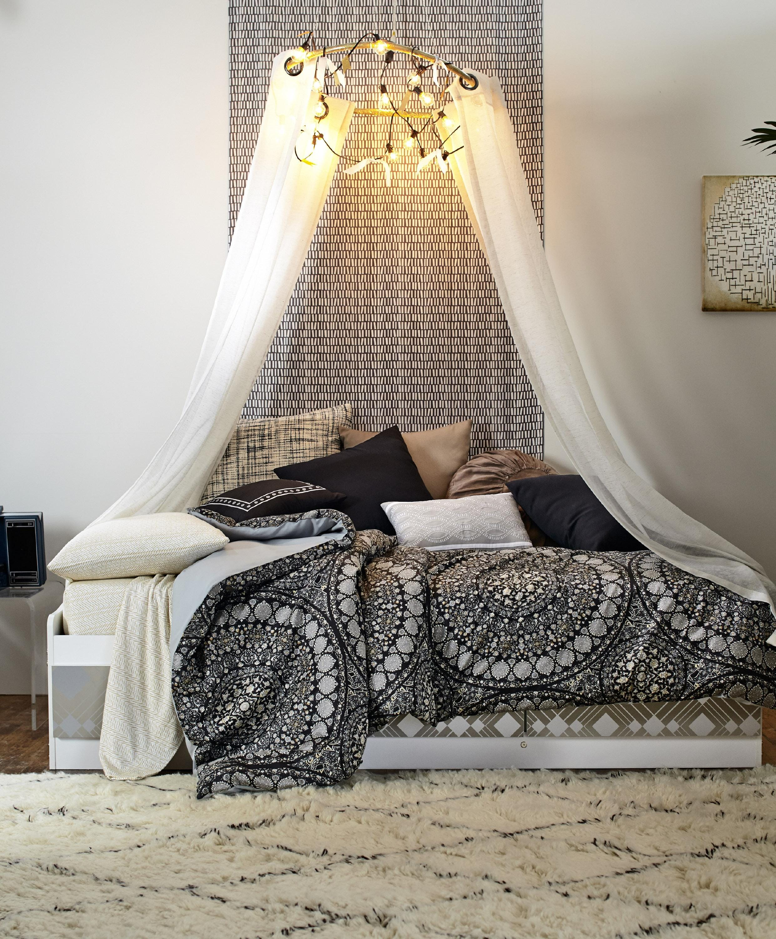 & DIY dorm redo: canopy chandelier other simple projects