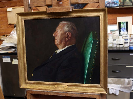 Jamie Wyeth's portrait painting of Charles L. Terry, Jr., chief justice, Supreme Court and former Governor of Delaware, escaped heavy damage during the fire at Legislative Hall on October 7th. Conservators from the University of Delaware who partner with Winterthur Museum are trying to restore the painting.