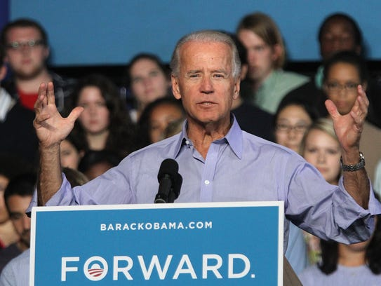 Vice President Joe Biden addresses supporters in Grinnell
