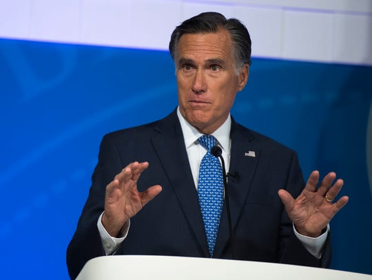 U.S. Senate candidate Mitt Romney (R) during the debate