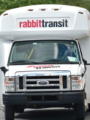 A Rabbit Transit bus sits at headquarters off Franklin Farm Lane, Chambersburg, on Tuesday, Oct. 4, 2016.