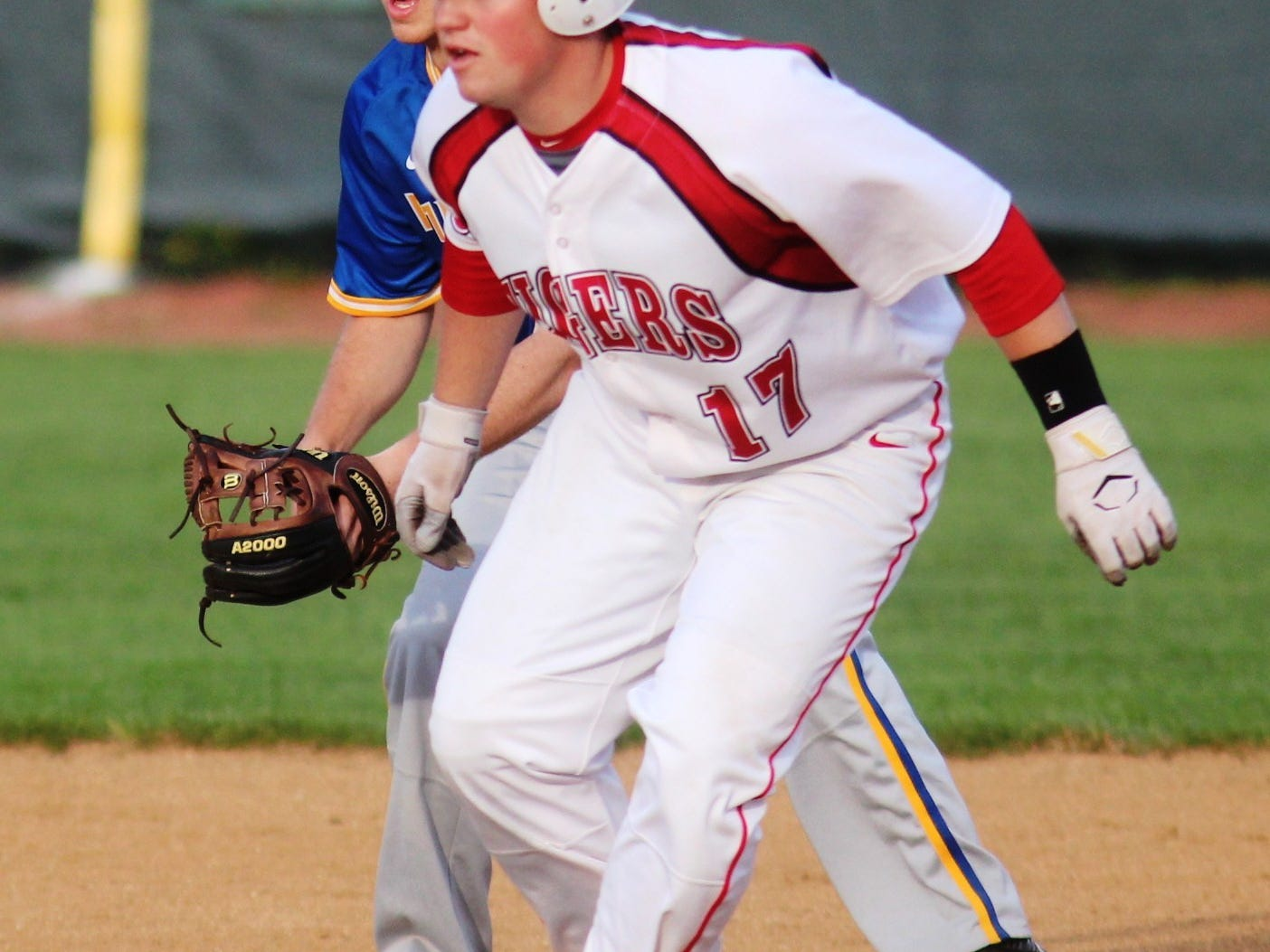 Beechwood senior Blake Hamilton gets to second in the April 17 Doc Morris Invitational game against Moeller