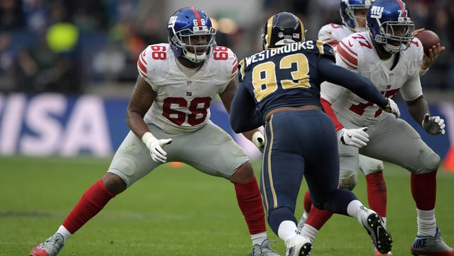 Former New York Giants guard Bobby Hart (68) was signed by the Bengals on Wednesday.