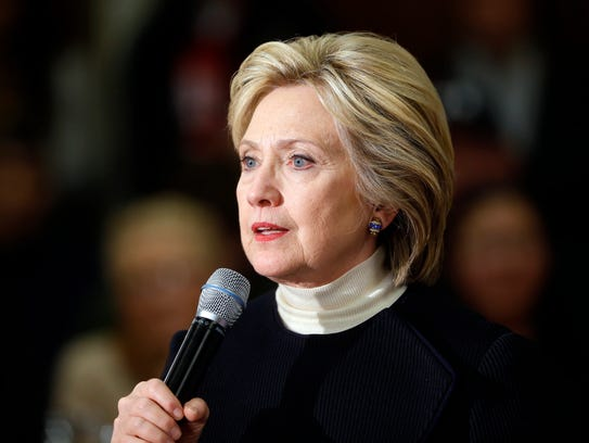 Hillary Clinton speaks at a town hall in Toledo, Iowa,