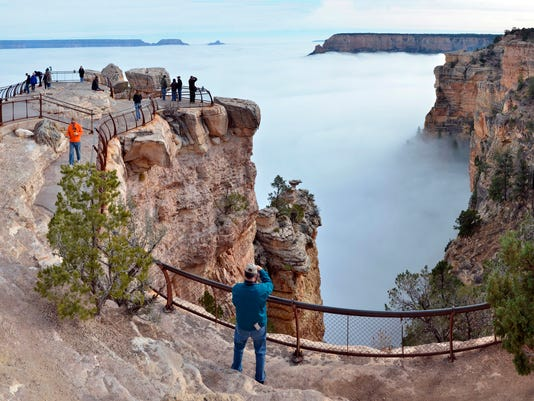 Fog, clouds fill Grand Canyon in rare weather event