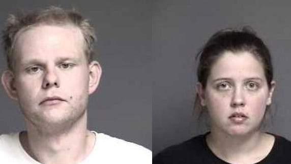 Daniel Trivett, left, and Jessica Rosin, right, were arraigned on Wednesday, Oct. 22, 2014 after police say they found ingredients for manufacturing meth in Rosin's car.