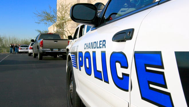 The entrance to the main office of the Chandler Police Department.