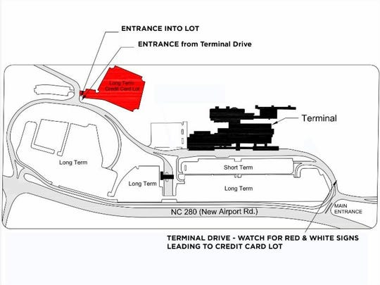 A diagram shows where the new parking lot will be located at Asheville Regional Airport.