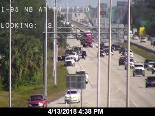 An RV and a passenger car crashed on northbound Interstate 95 Friday