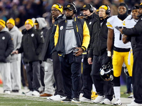 Pittsburgh Steelers coach Mike Tomlin watches from the sideline against the Baltimore Ravens on Thanksgiving at M&T Bank Stadium.