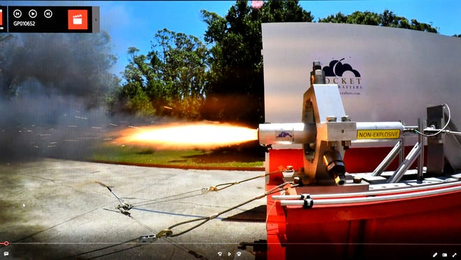 Rocket Crafters is designing the Intrepid rocket for launches of small satellites. At a Cocoa industrial facility on Monday, the company test-fired a prototype hybrid rocket engine, shown here in a screen grab from a GoPro camera recording the 10-second test.