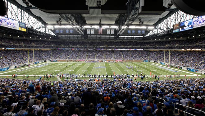 This view shows the Detroit Lions play the Buffalo Bills during an NFL football game Sunday, Oct. 5, 2014, in Detroit.