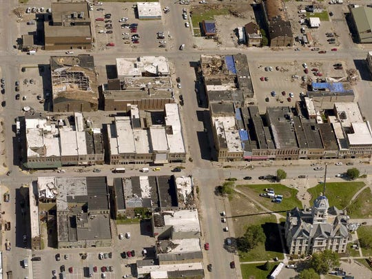 An aerial photo taken by EagleView shows damage from EF-3 tornado that struck Marshalltown, Iowa in late July.