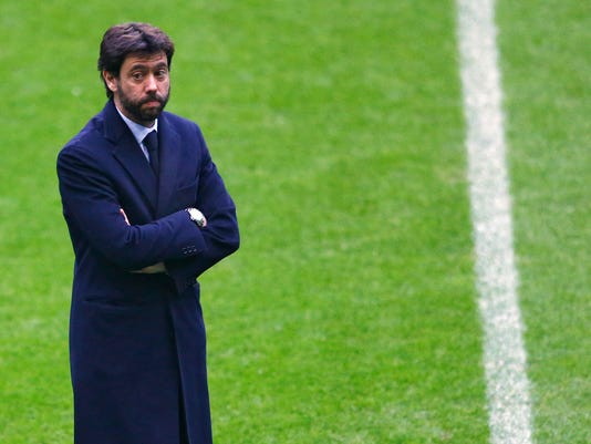 FILE- In this file photo dated Tuesday, March 15, 2016, Andrea Agnelli, president of Juventus, arrives at the Allianz Arena stadium prior to the Champions League soccer match between Bayern Munich and Juventus Turin in Munich, Germany.  Europe's top clubs on Tuesday Sept. 5, 2017, elected Juventus president Andrea Agnelli to lead them, and Arsenal CEO Ivan Gazidis will join him on the UEFA executive committee. (AP Photo/Matthias Schrader, FILE)