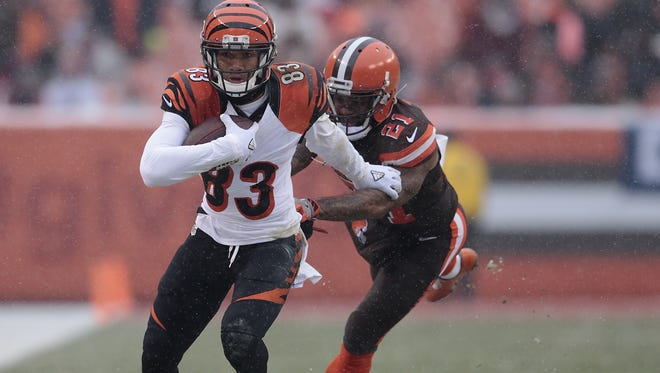 Cincinnati Bengals wide receiver Tyler Boyd (83) turns upfield after making a catch in the second quarter during the Week 14 NFL game between the Cincinnati Bengals and the Cleveland Browns, Sunday, Dec. 11, 2016, at FirstEnergy Stadium in Cleveland. Cincinnati led 20-0 at halftime.