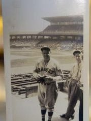Babe Ruth at Crosley Field in 1935 as a member of the Boston Braves.